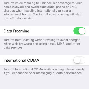 iPhone Roaming Settings