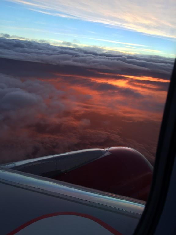 Sunrise flying above SFO