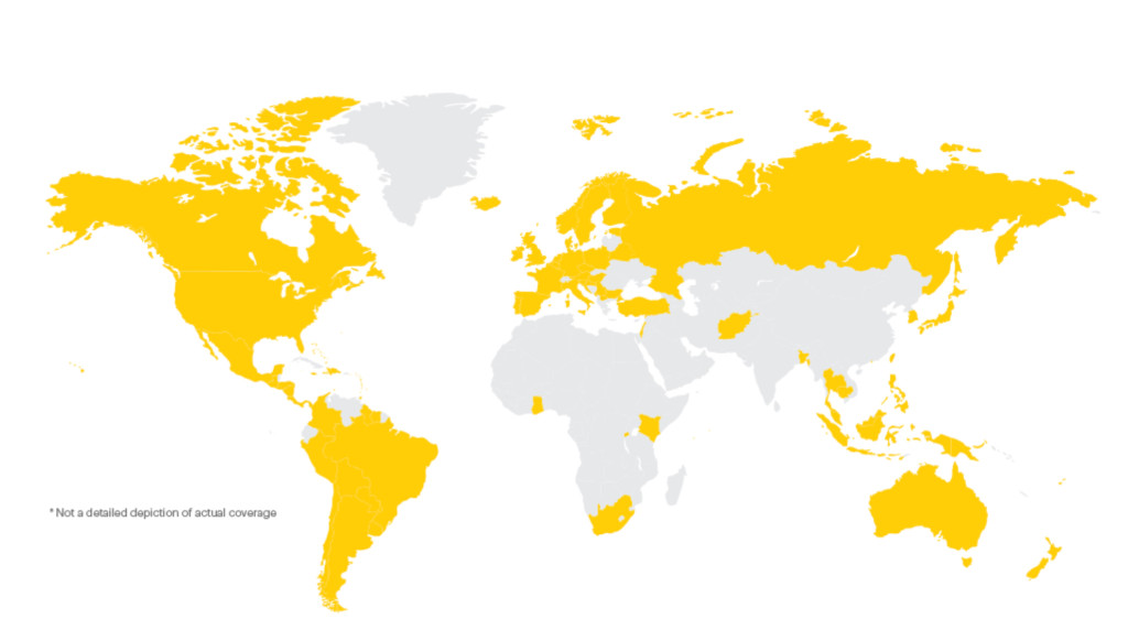 Sprint Global Roaming Coverage as of 1/8/16