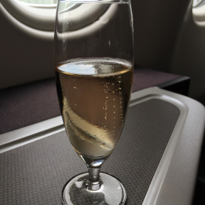 Champagne prior to takeoff