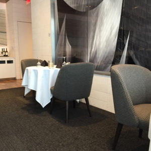 Dining inside First Class Lounge LAX