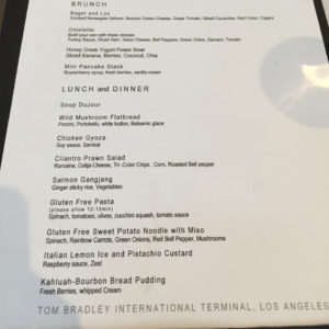 Dining Menu @ LAX Lounge