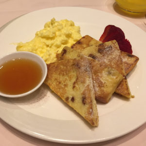 Singapore French Toast along with scrambled eggs