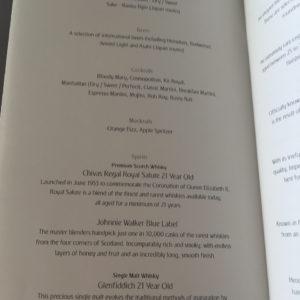 Bar Menu Page 1