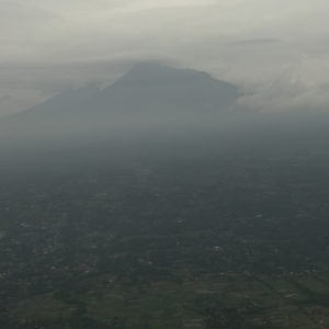 Mount Merapi after takeoff from JOG