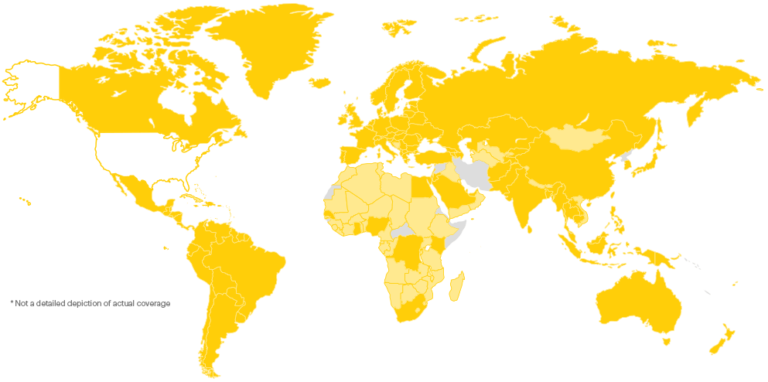 Sprint Global Roaming Coverage as of 4/18/17