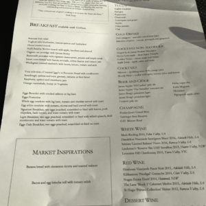 SYD Winter Breakfast Menu
