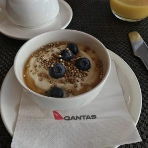 Yogurt with blueberries, toasted quinoa and buckwheat