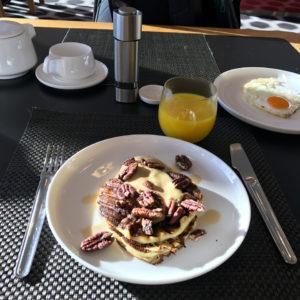 Waffles with mango, lime, mascarpone and maple syrup