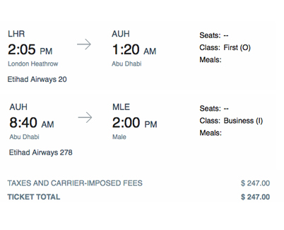 Booking Confirmed (62,500 Miles & $247 in Taxes)
