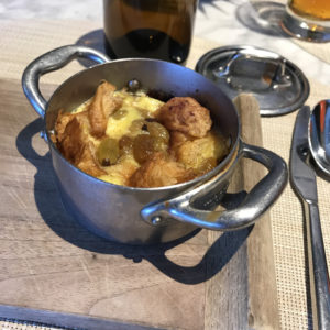 Warm croissant bread pudding