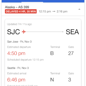 SJC-SEA Delay