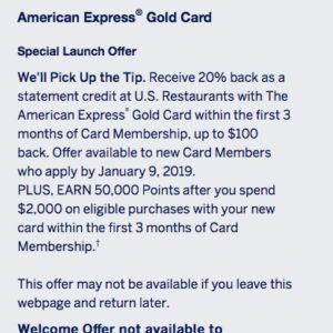 AMEX 50K Gold Offer