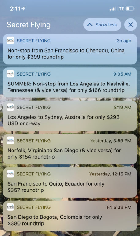 Secret Flying Notifications iOS