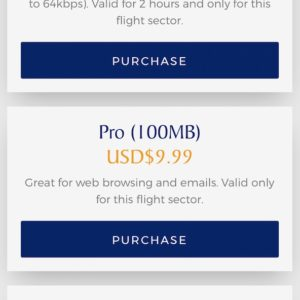 Inflight WiFi Pricing